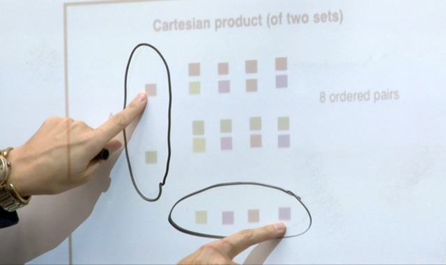 Students pointing to product on board