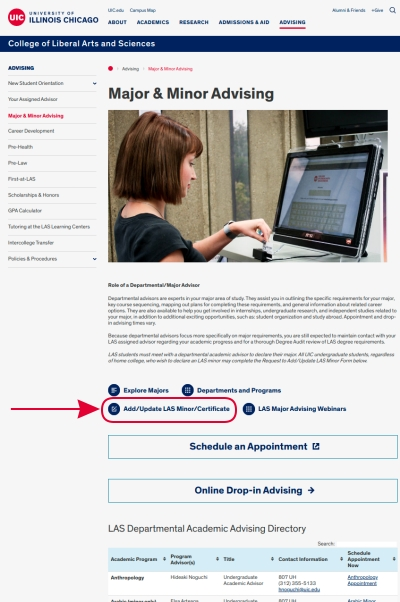 Screenshot of Major & Minor Advising page